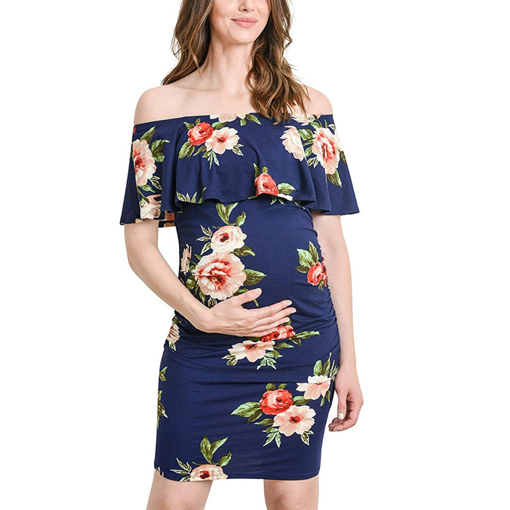 New Sleeveless Off Shoulder Floral Print Ruffle Casual Pregnancy Dress