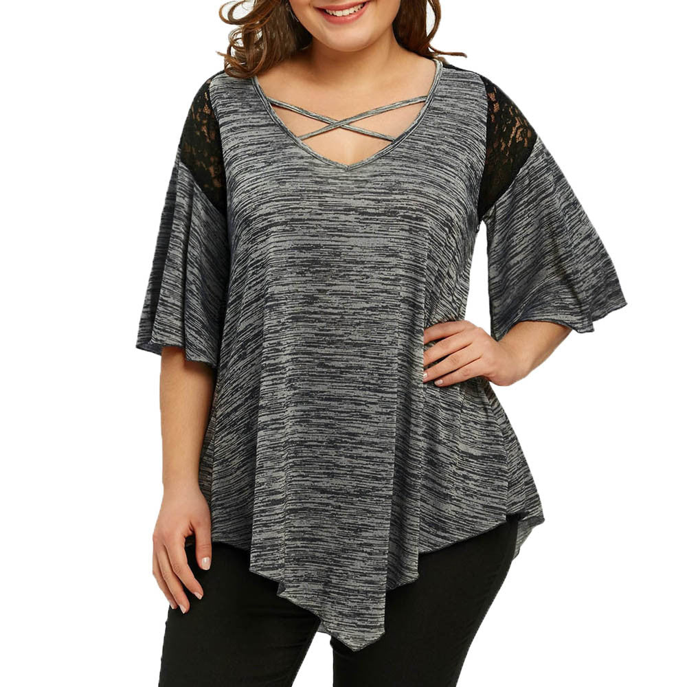 V-Neck Half Sleeve Lace Panel Plus Size Top