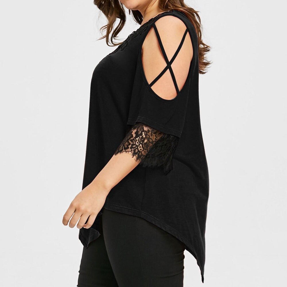 Sexy V-Neck Lace Up Dew Shoulder Plus Size Top