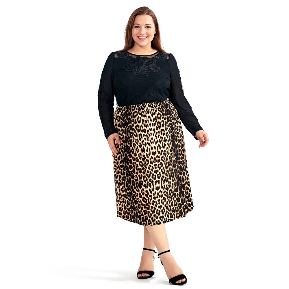 Vintage Leopard Print Comfortable Casual High Waist Straight Women Plus Size Skirt