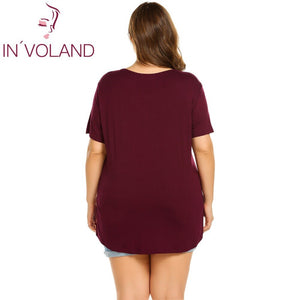 IN'VOLAND V Neck Female Oversized Solid Loose Plus Size Sleepwear