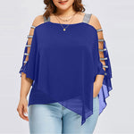 Chiffon Strapless Cold Shoulder Plus Size Top