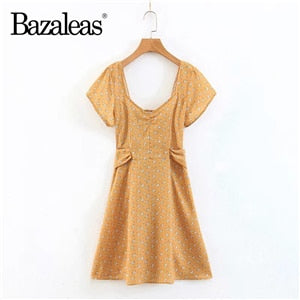 Bazaleas Ruched Vintage Floral Print Slim Elastic Mini Vestidos Dress