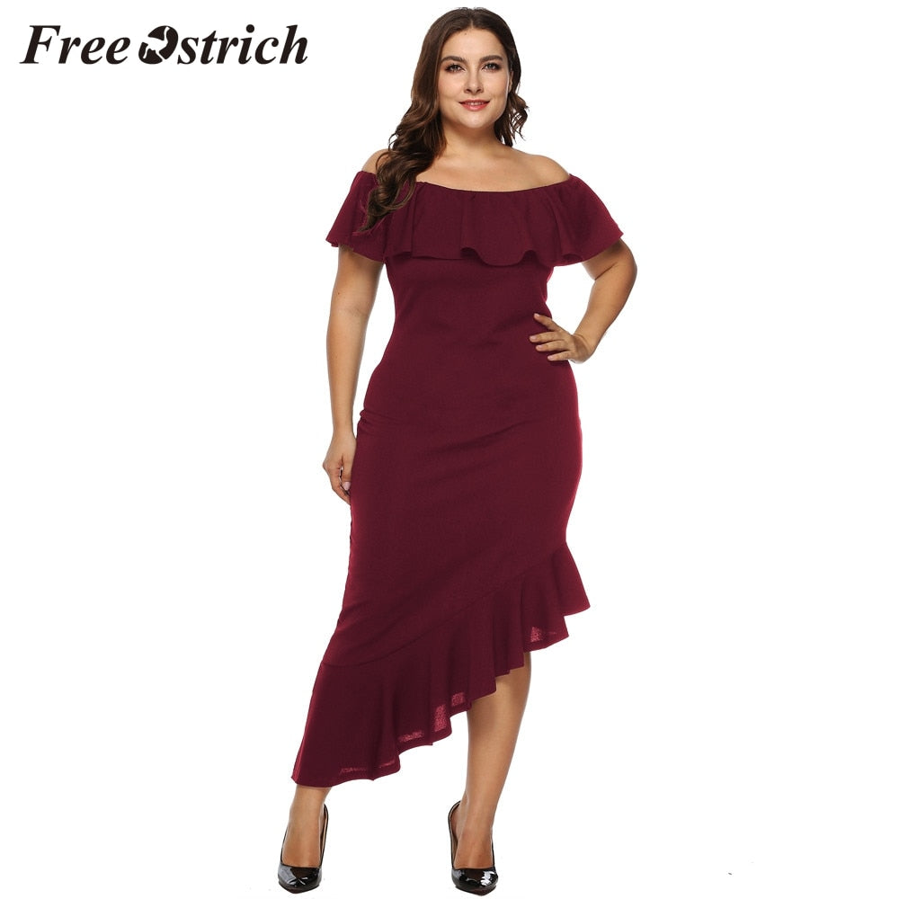 Free Ostrich Women Casual Solid Off Shoulder Slash Neck Mid Plus Size Sexy Dress