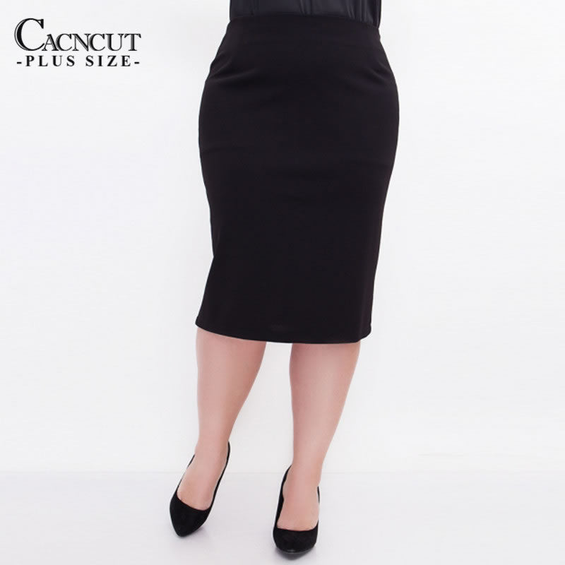 CACNCUT High Waist Bag Thigh Skirt Business Women Plus Size Skirt