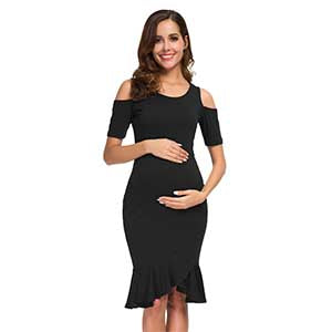 Cold Shoulder Short Sleeve Ruffles Mermaid Baby Shower Maternity Dresses