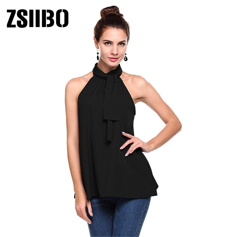 Elegant Women Hollow Out Blouse Sleeveless Turtleneck Chiffon Work Shirts