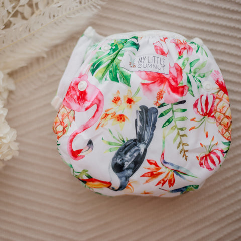 Tropical oasis swimming nappy. Reusable swimming nappy. My little gumnut.