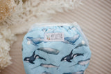 Whales cloth swimming nappy. Reusable swimming nappy. Australian artist design cloth nappy. My little gumnut.