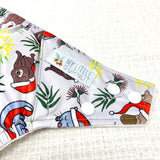 Christmas nappy. Christmas cloth nappy. Aussie Christmas. Cloth diapers. Australian cloth nappies. Koala. Platapus. Chrismtas 2020. Christmas design cloth nappy. Christmas print cloth nappy. Christmas print wet bag. My little gumnut.