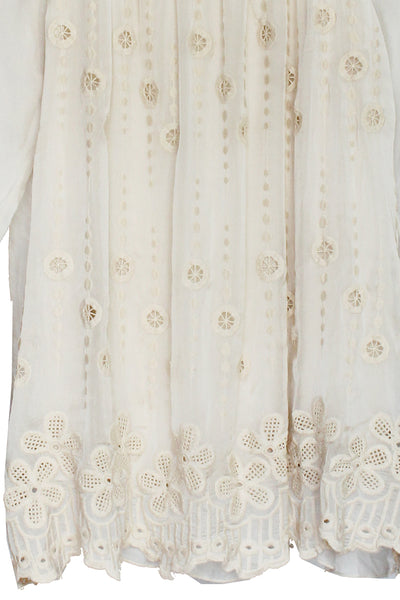 Cream Embroidered Tie-Sleeve Top