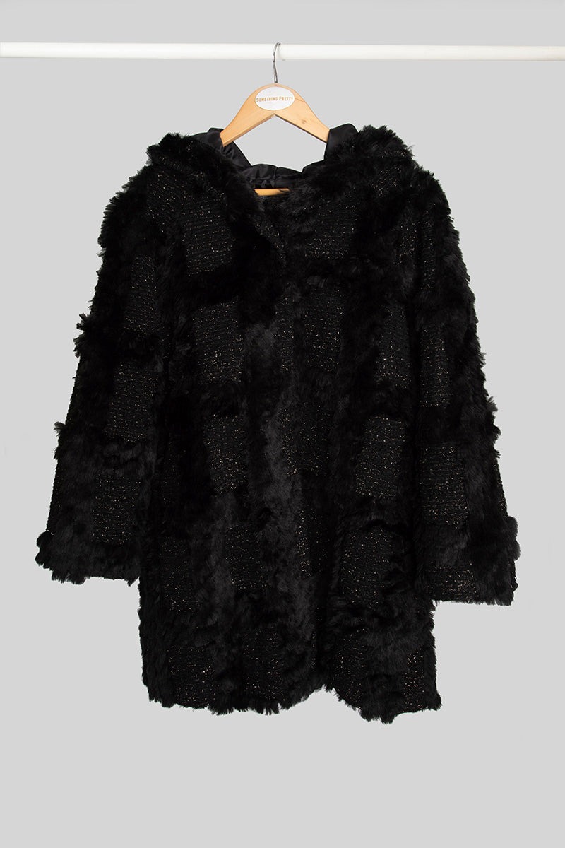 Black and Gold Faux Fur Coat