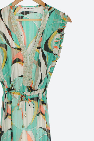 Turquoise Abstract Charie Dress