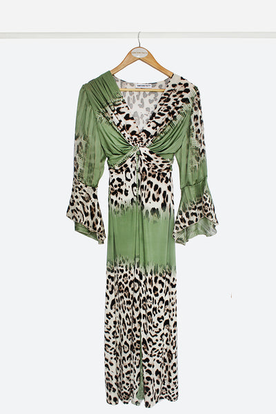 Green Leopard Knot Maxi Dress With Sleeves