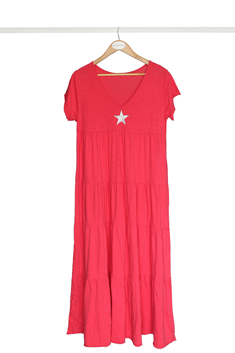 Coral Star Cotton Dress