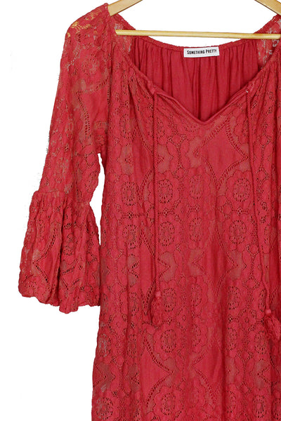 Coral Lace Babydoll Dress