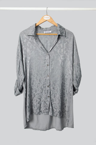 Grey Longer Length Viscose Shirt
