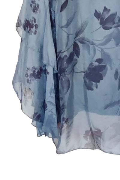 Blue Floral Silk Blouse