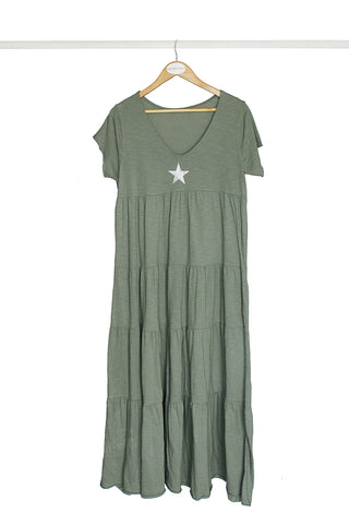 Olive Star Cotton Dress