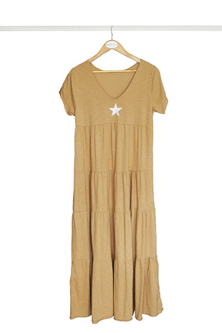 Beige Star Cotton Dress