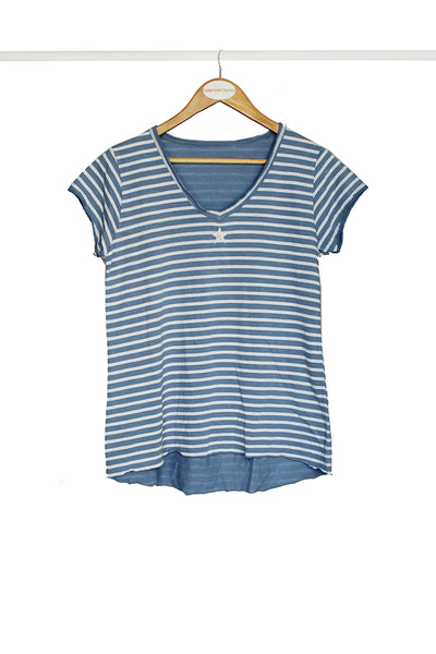Blue Star Striped Tee