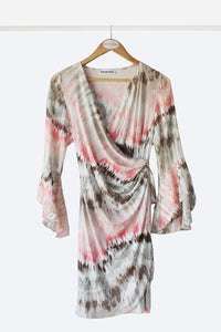 Peach Tie-Dye Wrap Dress