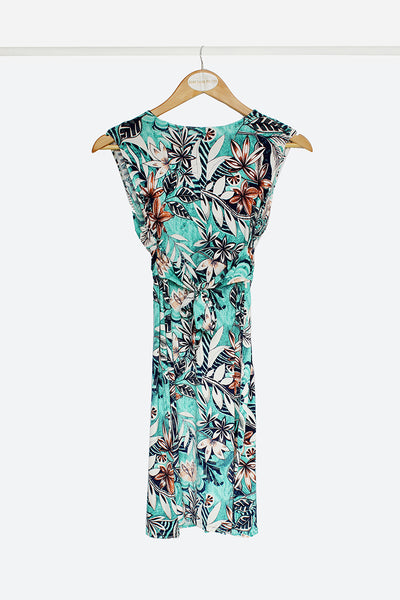 Turquoise Floral Mini Knot Dress
