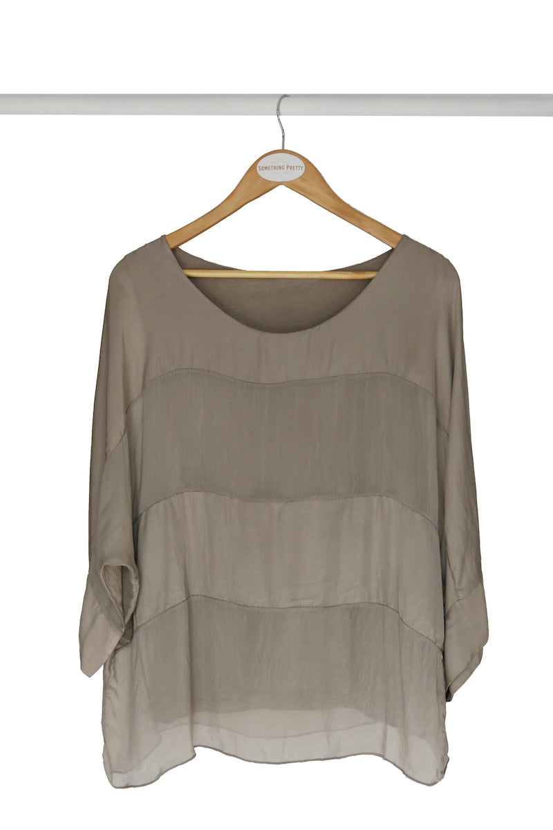 Taupe Up-styled Silk Poncho