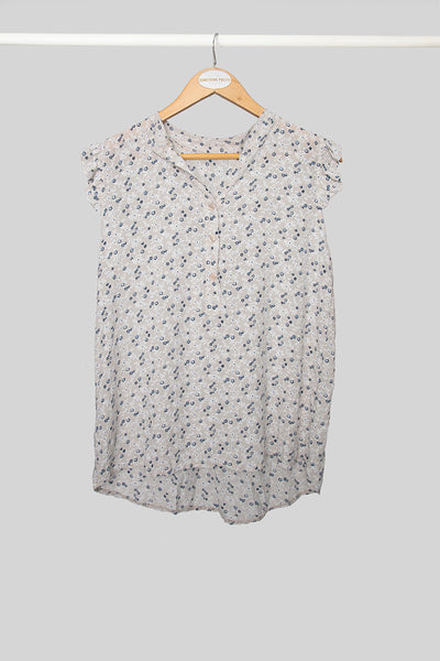 Beige Floral Sleeveless Top