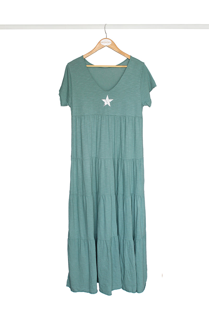 Green Star Cotton Dress