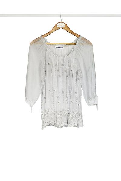 Grey Embroidered Tie-Sleeve Top