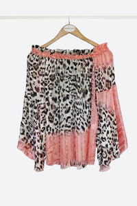 Coral Leopard Cold Shoulder Top