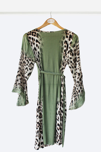 Green Leopard Wrap Dress