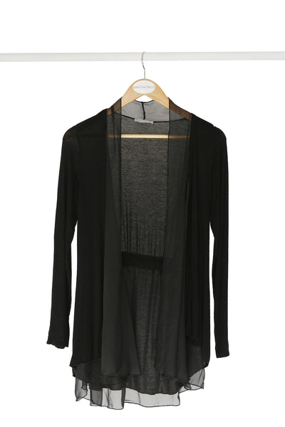 Black Cardigan With Silk Frill Detail