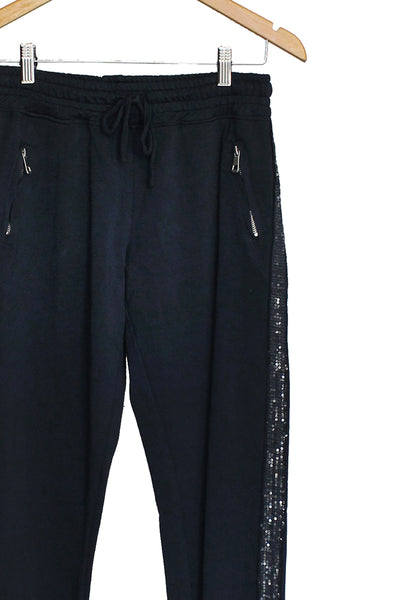 Navy Sequin Track pant