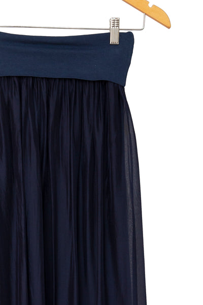 Navy Silk Maxi Skirt