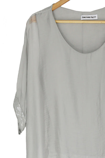 Grey Sequin Silk Poncho