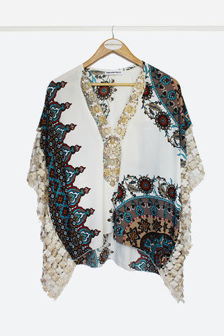 Turquoise Embellished Scarf Top