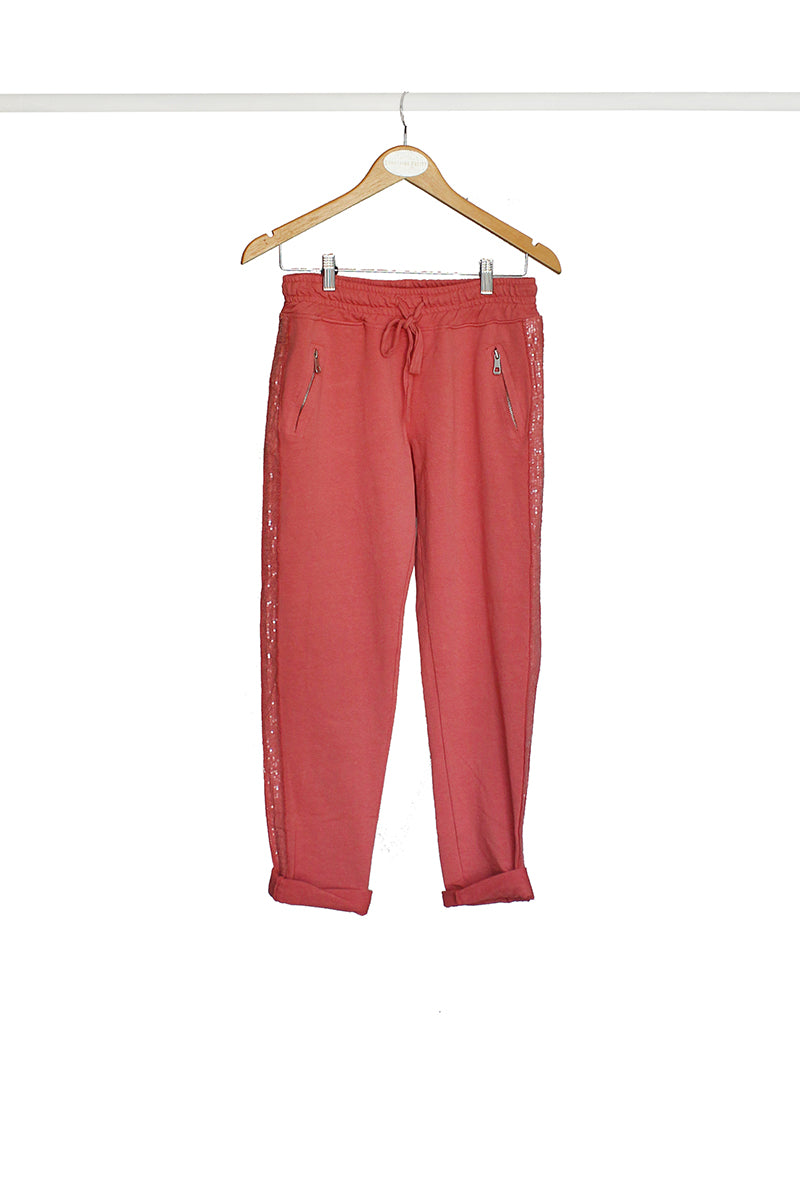 Coral Sequin Track Pant