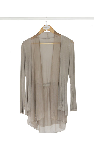 Taupe Cardigan With Silk Frill Detail