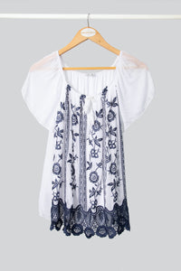 Short Sleeved Ink Embroidered Silk Top