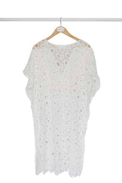 White Embroidered Lace Kaftan