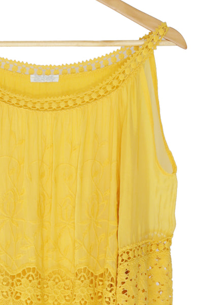 Yellow Embroidered Cold Shoulder Top