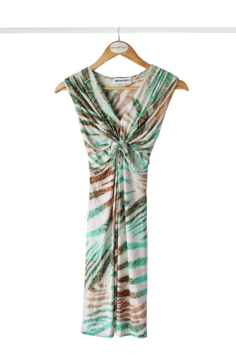 Sage Snake Knot Mini Dress