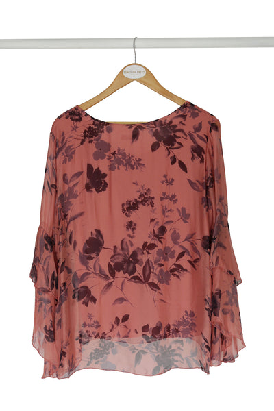 Salmon Floral Silk Blouse