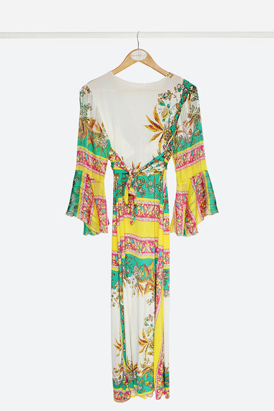 Vibrant Knot Maxi Dress With Sleeves