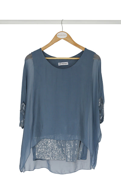 Blue Sequin Silk Poncho