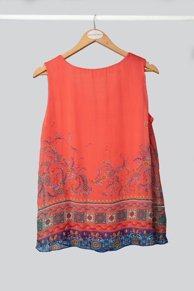Coral Sunflower Silk Vest
