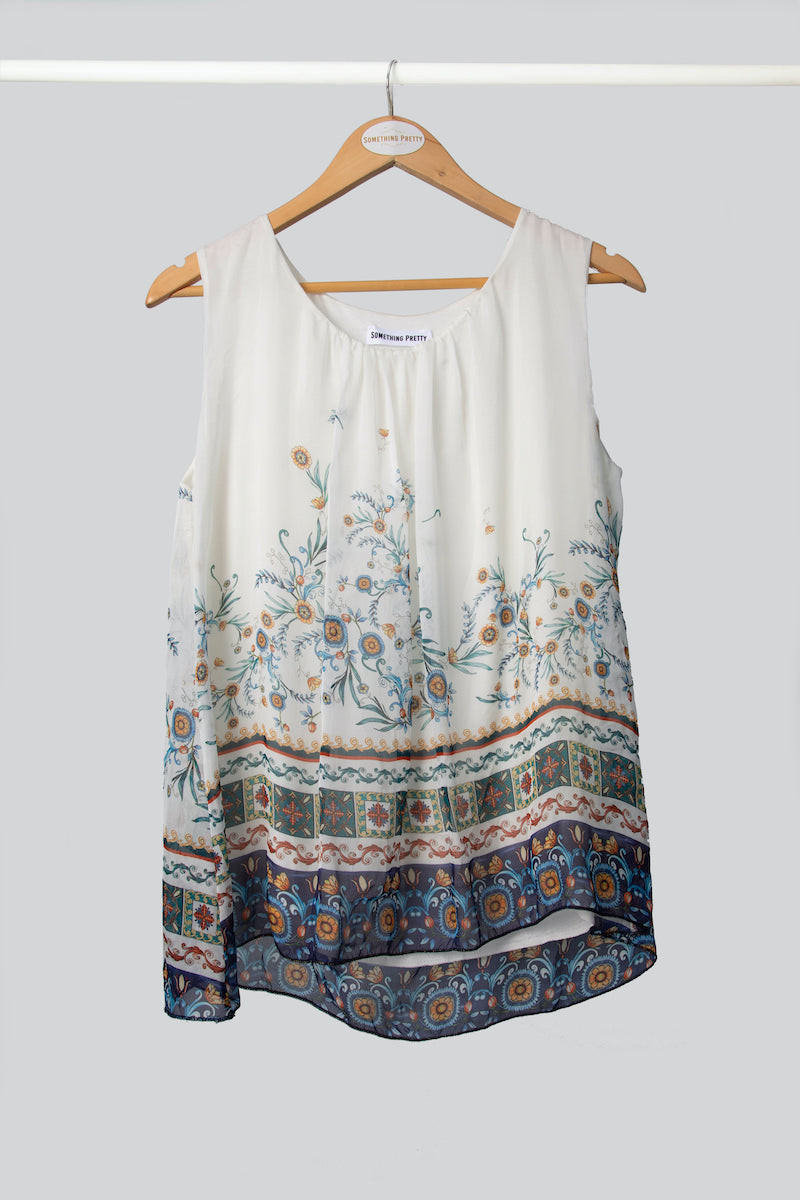 White Sunflower Silk Vest