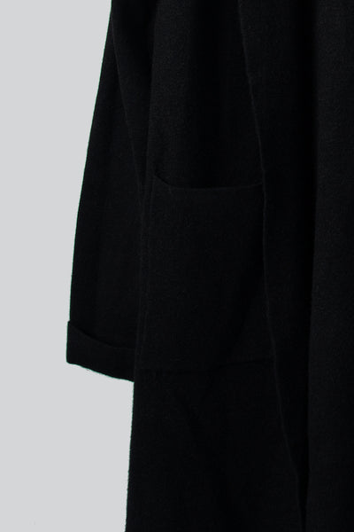 Black Longer Length Cardigan With Hood